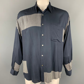 PAUL SMITH Size L Navy Print Rayon Button Up Long Sleeve Shirt