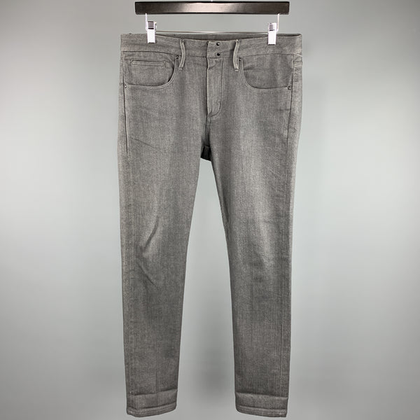 EMPORIO ARMANI Size 32 x 32 Charcoal Cotton Zip Fly Jeans