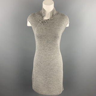 SHANGHAI TANG Size L Grey Knitted Ribbed Wool Dress