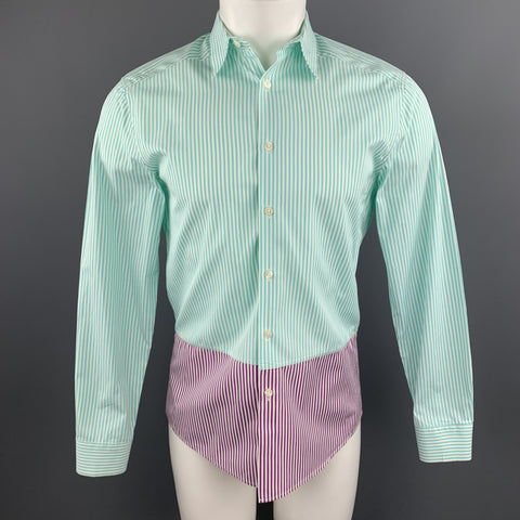 PS by PAUL SMITH Size S Green Purple & White Striped Cotton  Shirt