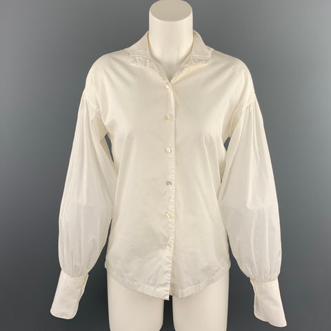 DRIES VAN NOTEN Size 6 White Poplin Cotton Dropped Shoulder Blouse
