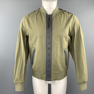 RAG & BONE Size M Olive Nylon Grey Zip Windbreaker Bomber Jacket