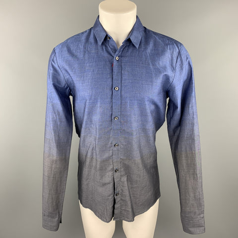 HUGO BOSS Size M Indigo & Charcoal Ombre Cotton Button Up Long Sleeve Shirt