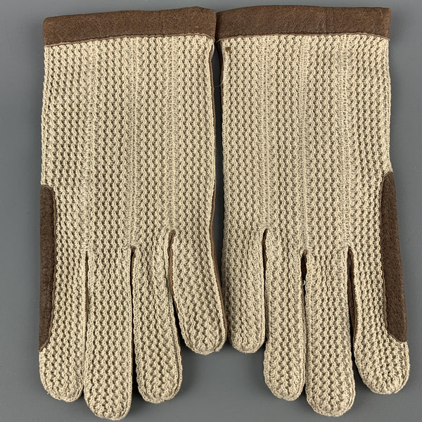 VINTAGE Woven Size 8.5 Taupe Leather Gloves