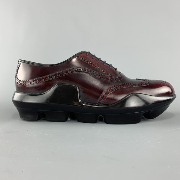 PRADA Size 10 Burgundy Leather Wingtip Rubber Platform Sole Lace Up
