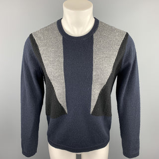 YMC Size M Navy & Black Color Block Wool Crew-Neck Pullover