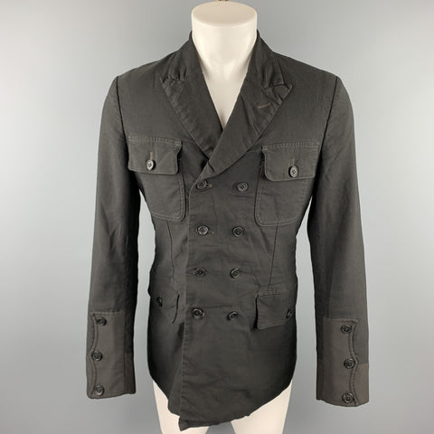 COMME des GARCONS HOMME PLUS Size M Black Linen / Polyester Peak Lapel Double Breasted Jacket