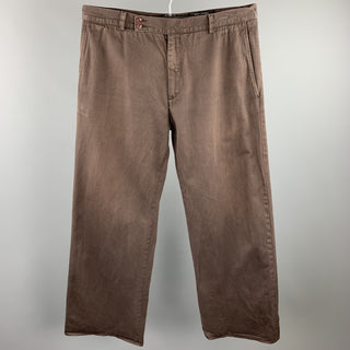 MARC JACOBS Size 36 Brown Cotton Wide Leg Dress Pants