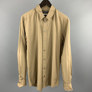 DOLCE & GABBANA Size L Olive Cotton Long Sleeve Shirt