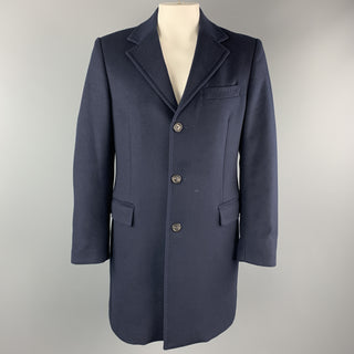 BENETTON Size L Navy Wool Blend Notch Lapel  Long Coat