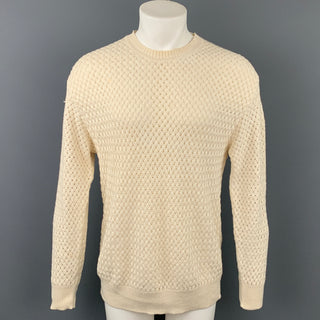 SULKA Size M Beige Woven Linen / Cotton Crew-Neck Sweater