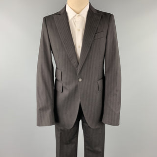 CoSTUME NATIONAL 38 Regular Black Stripe Wool Peak Lapel Suit