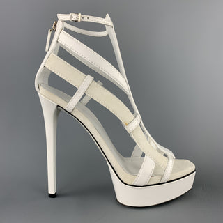 GUCCI Size 9 White Leather & Suede Strappy Platform LIFFORD MELBOURNE Gladiator Sandals