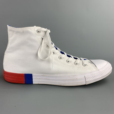 CONVERSE Size 10.5 White Canvas High Top Sneakers