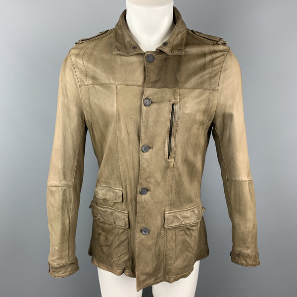 NEIL BARRETT Size 40 Taupe Leather Buttoned Epaulet Jacket