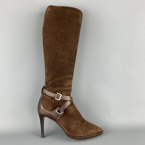 RALPH LAUREN Size 7 Brown Suede Ankle Strap Pointed Calf Boots