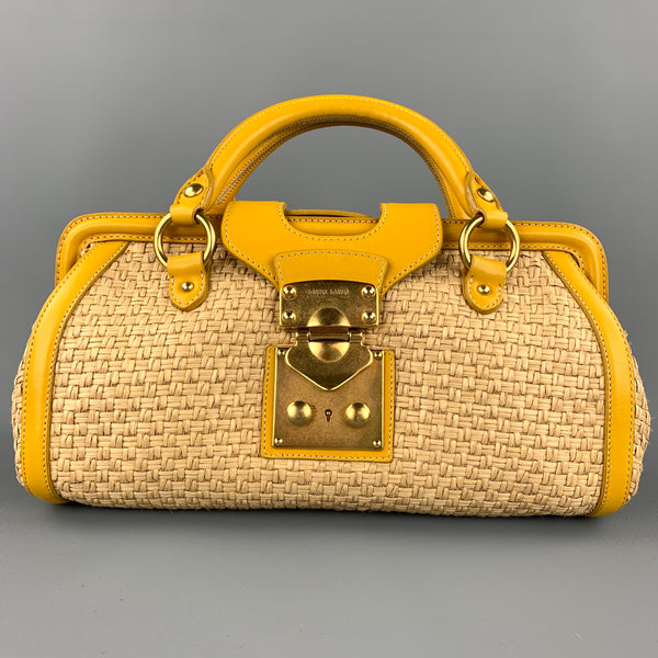 MIU MIU Bandoliera Natural Woven Straw Leather Shoulder Handbag
