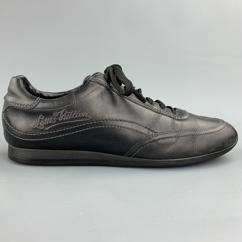 LOUIS VUITTON Size 9 Black Leather Lace Up Sneakers
