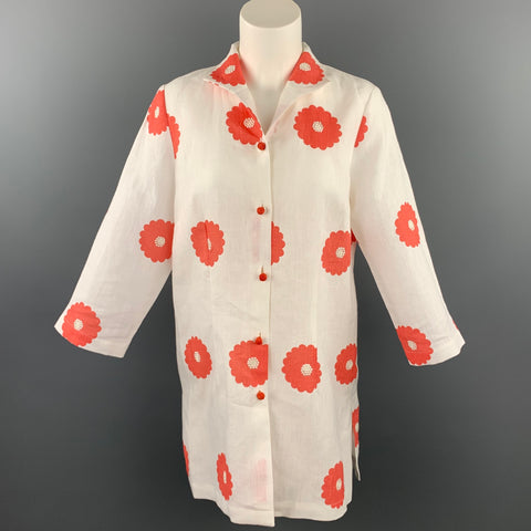 CONNIE ROBERSON Size S White Floral Linen Buttoned Jacket