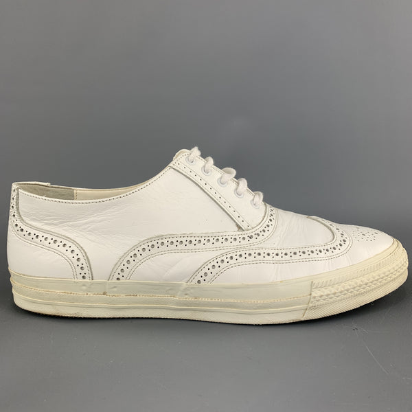 COMME des GARCONS HOMME PLUS Size 10 Perforated White Leather Wingtip Sneakers
