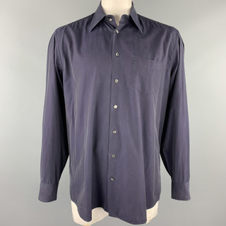 DOLCE & GABBANA Size XL Navy Cotton Button Up Long Sleeve Shirt