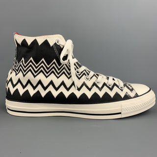 CONVERSE x MISSONI Size 10 Black & White Zig Zag Canvas High Top Sneakers