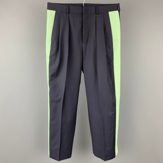VALENTINO Size 30 Navy & Green Color Block Wool Pleated Dress Pants