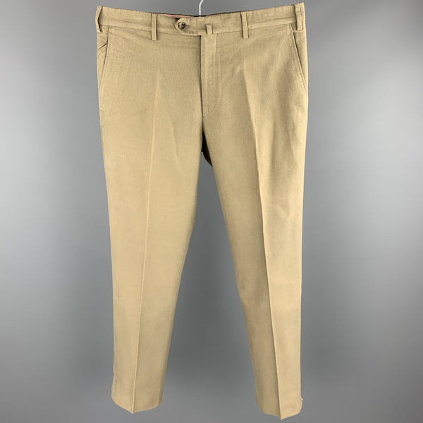LORO PIANA Size 34 Olive Cotton Zip Fly Casual Pants