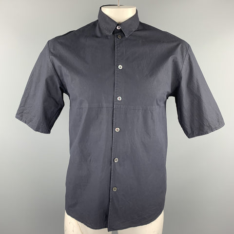 STEPHAN SCHNEIDER Size L Navy Cotton Short Sleeve Button Up Shirt