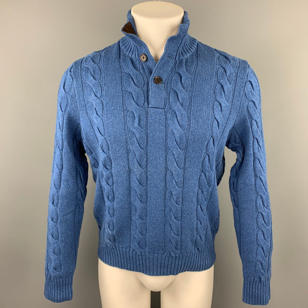 POLO by RALPH LAUREN Size S Blue Cable Knit Silk / Cashmere Mock Turtleneck Sweater