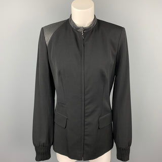 CLAUDE MONTANA Size 4 Black Two Toned Wool / Silk Zip Up Jacket
