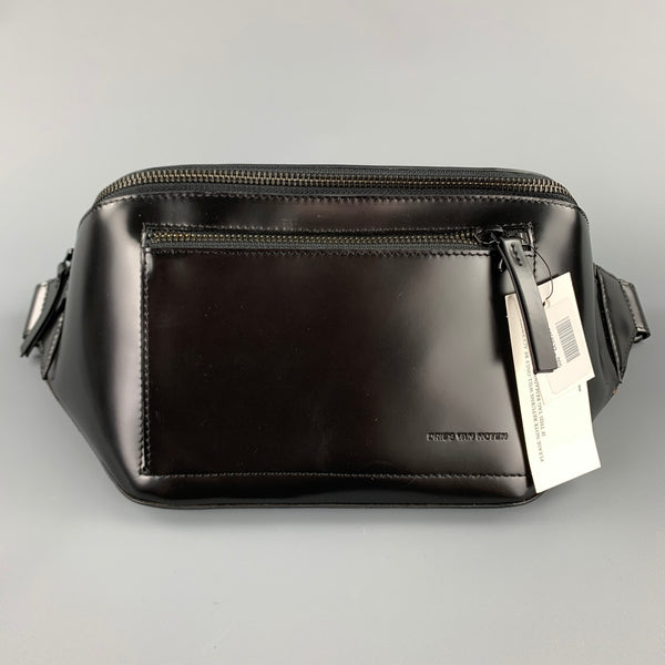 DRIES VAN NOTEN Black Patent Leather Fanny Pack
