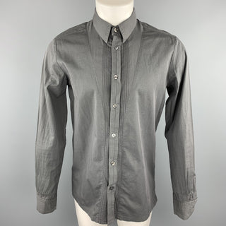 STEPHAN SCHNEIDER Size M Dark Gray Pleated Cotton Button Up Long Sleeve Shirt