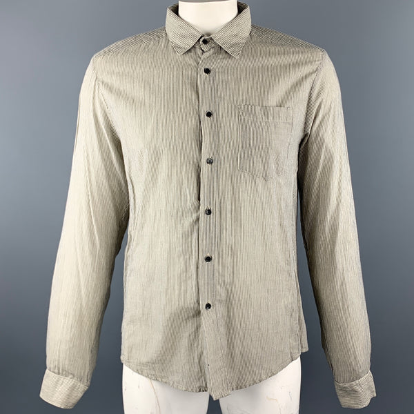 NICE COLLECTIVE Size XXL Grey Pinstripe Cotton / Linen Long Sleeve Shirt