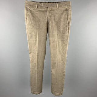 JOHN VARVATOS Size 30 Taupe Pinstripe Cotton Blend Zip Fly Casual Pants