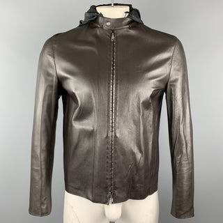 NEIL BARRETT Size M Brown Leather Zip Off Hood Biker Jacket