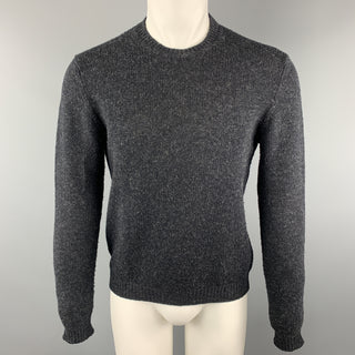 PRADA Size S Charcoal Knitted Wool Blend Crew-Neck Elbow Patches Pullover Sweater