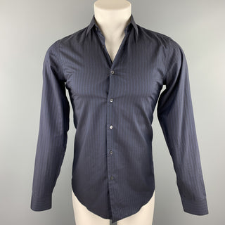 MIU MIU Size S Navy Stripe Cotton Button Up Long Sleeve Shirt