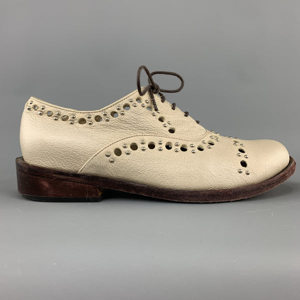 CALLEEN CORDERO Size 7.5 Gold Metallic Perforated Studded Leather Brogues