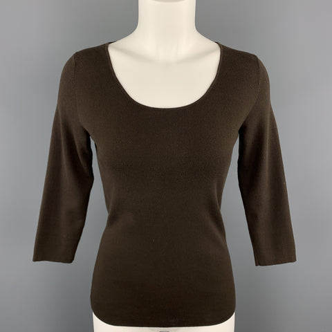 LORO PIANA Size 6 Brown Cotton / Elastane Scoop Neck 3/4 Sleeve Pullover