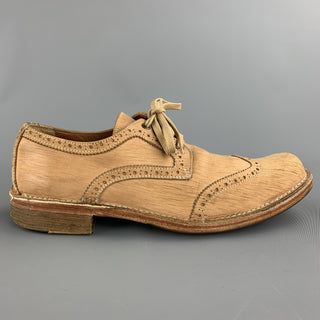 JOHN VARVATOS Size 10.5 Tan Perforated Leather Wingtip Lace Up Shoes