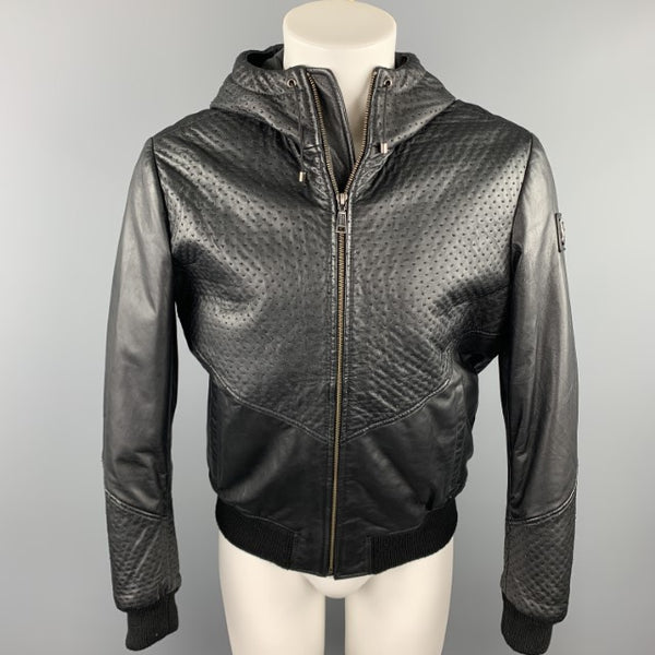 VERSACE JEANS Size 40 Black Stitched Leather Zip Up Jacket