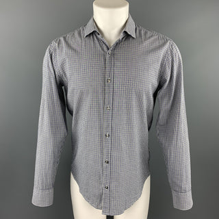 SIMON SPURR Size L Navy & White Checkered Cotton Button Up Long Sleeve Shirt