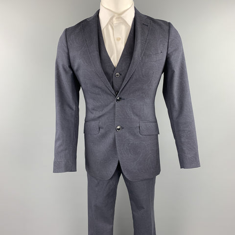 ETRO Size 34 Dark Gray Paisley Wool Notch Lapel 3 Piece Suit