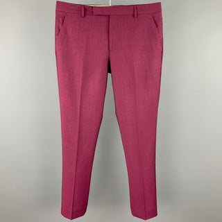 PAUL SMITH Size 33 Burgundy Wool / Mohair Zip Fly Dress Pants