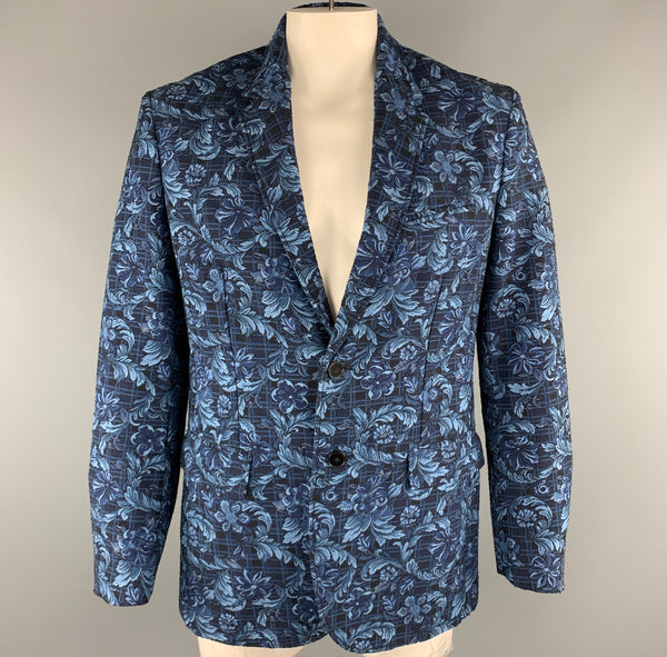 3.1 PHILLIP LIM Navy Floral Viscose Blend Notch Lapel Chest Size 42 Sport Coat