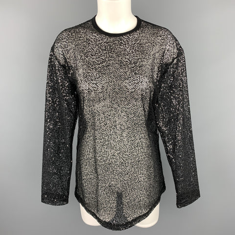 JUNYA WATANABE Size M Black Sequined Mesh Crew-Neck Pullover