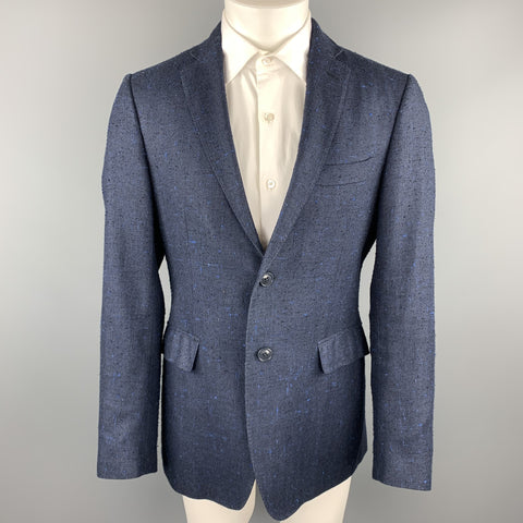 ETRO Size 40 Navy Textured Silk / Linen Notch Lapel Sport Coat