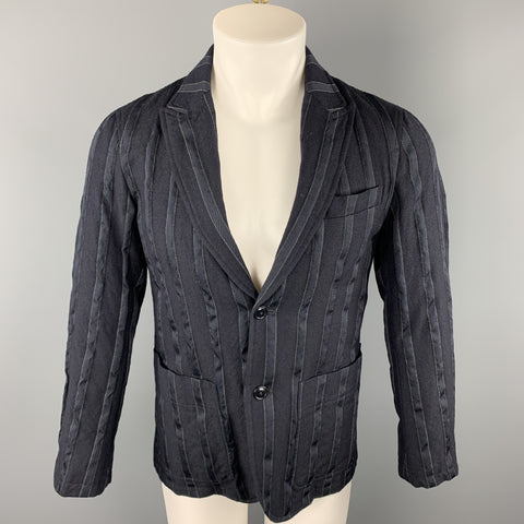 TS (S) Chest Size S Navy Stripe Wool / Polyester Peak Lapel Sport Coat