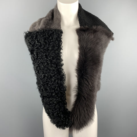 OWEN BARRY Black & Gray Patchwork Shearling & Fur Scarf